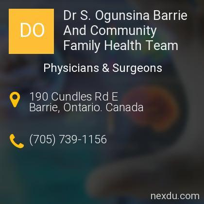 Dr S. Ogunsina Barrie And Community Family Health Team