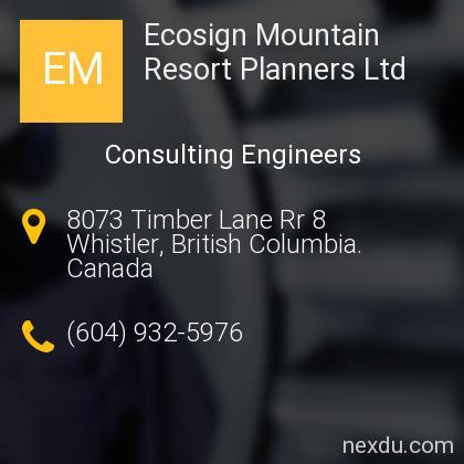 Ecosign Mountain Resort Planners Ltd