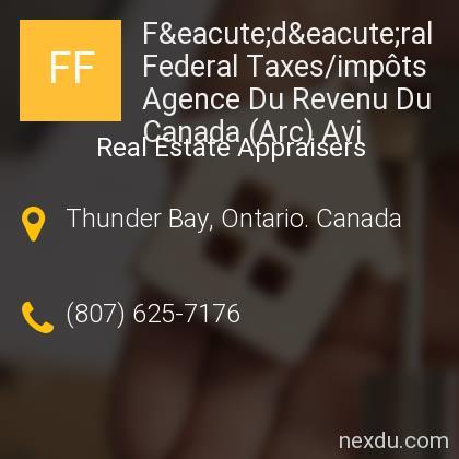 Fédéral Federal Taxes/impôts Agence Du Revenu Du Canada (Arc) Avi