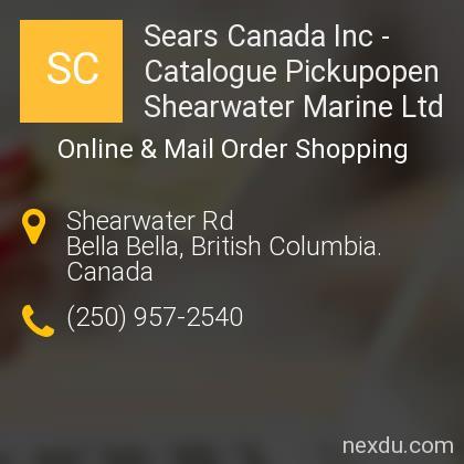 Sears Canada Inc - Catalogue Pickupopen Shearwater Marine Ltd