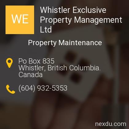 Whistler Exclusive Property Management Ltd