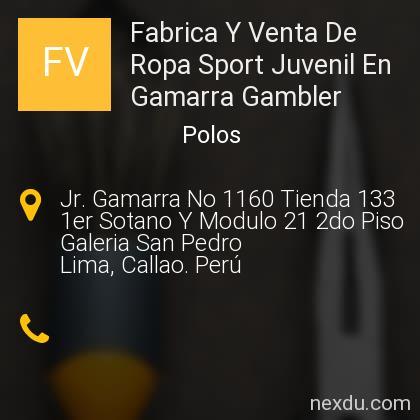 Fabrica Y Venta De Ropa Sport Juvenil En Gamarra Gambler