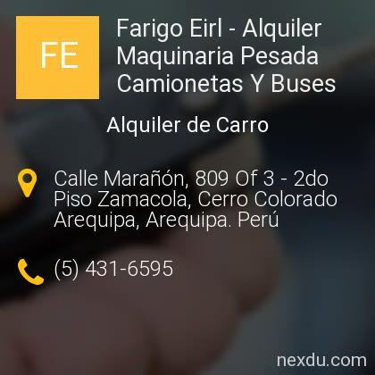 Farigo Eirl - Alquiler Maquinaria Pesada Camionetas Y Buses