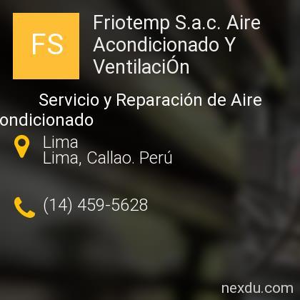Friotemp S.a.c. Aire Acondicionado Y VentilaciÓn